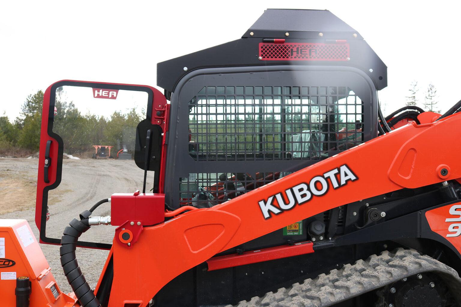 Kubota SVL95-2 Ballistic Door and Top Cab Guard and Cooler