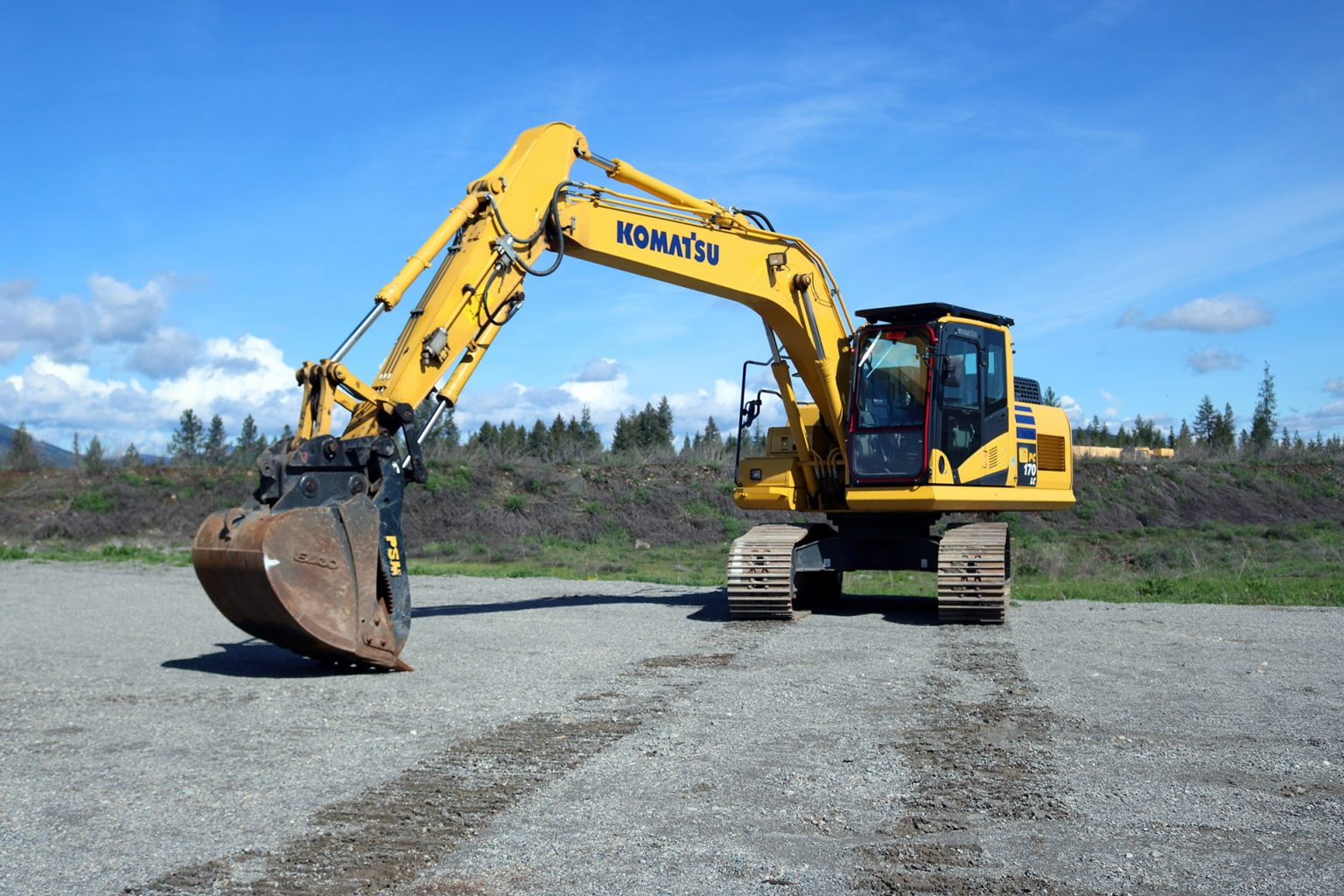 Komatsu PC170 Ballistic Window and Top Cab Guard
